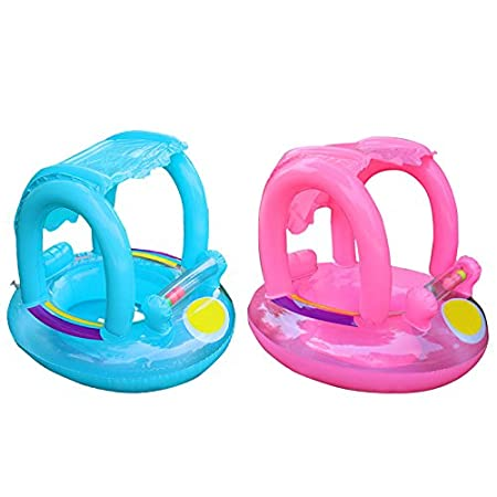 Amazon.com: Baby Kids Swimming Ring ,Inflatable Canopy Sunshade Swimming Pool Baby Swimming Float Boat Summer Toys and Gift for Adult Baby Children Boy Girl ...