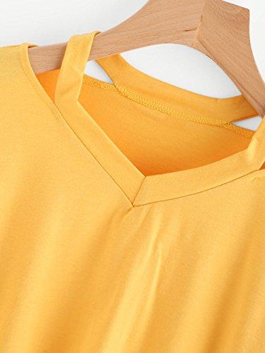 Top Lunghe Camicia Giallo Casuale donna Felpe Elegante Felpe Donna VICGREY da Per Manica Felpe Donna T Ragazze Lunga Pullover cappuccio senza Maniche Sportive Shirt XwqxfRgZ