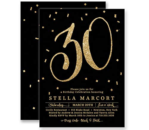 30th Birthday Invitations Black & Gold Glitter Look Any Age Personalized Boutique Invites with Envelopes- Stella -