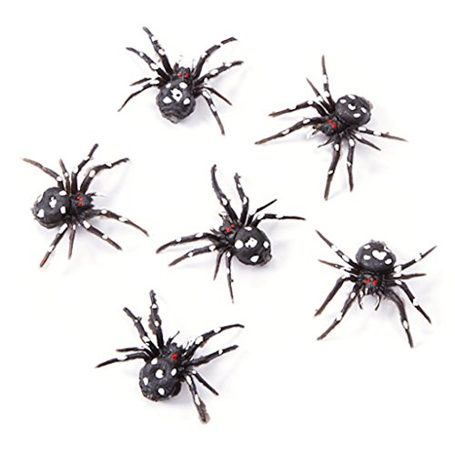 36 Black Plastic Spiders White Dots Halloween Party (Halloween Decortions)