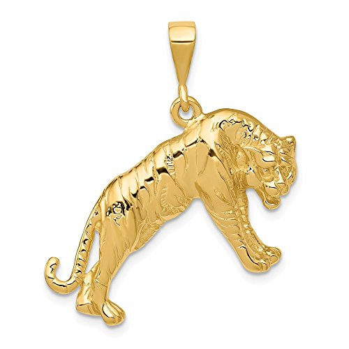 Solid 14k Yellow Gold Tiger Pendant Charm (29mm x - Tiger Gold 14k Solid