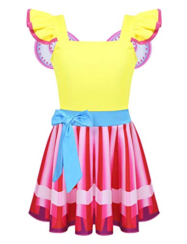 FEESHOW Kids Girls Fancy Nancy Halloween Cosplay Costume Flutter Sleeve Rainbow Tutu Dress with Wing Yellow -