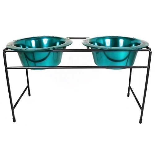 Platinum Pets Modern Double Diner Stand with Two 2 Cup Rimme