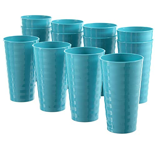 Splash 20-ounce Unbreakable Plastic Tumblers | set of 12 Teal (Plastic Tumblers Stackable)