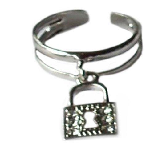 V G S Eternity Fashions Fashion Jewelry ~ Silvertone Lock Charm Adjustable Toe Ring (Style Toe Ring 025)