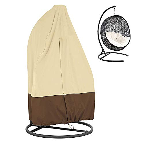 BullStar Patio Hanging Chair Cover Waterproof Wicker Egg Swing Chair Covers with Zipper Heavy Duty Oxford Outdoor Furniture Protector (75HX45D)