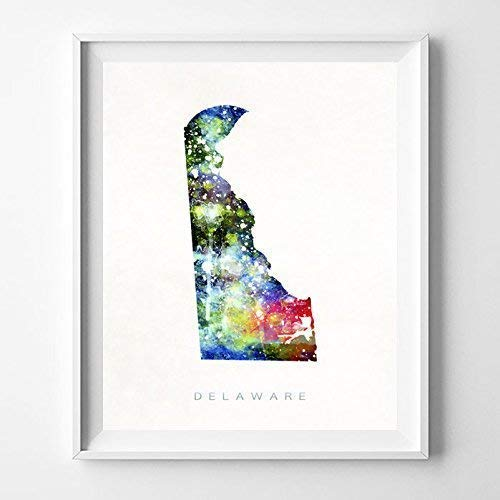 (Delaware Watercolor Map Print Wall Art Poster Home Decor Gift Idea Office Interior Hometown Dorm Room Bedroom Decoration Watercolour Giclee Artwork - Unframed)