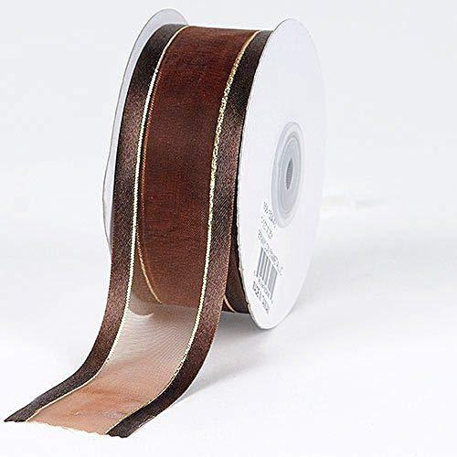 3/8'' Colors Brown Organza w/Metallic Gold Satin Edge Ribbon Gift Wrap Arts and Craft 25 Yards 3/8' Satin Edge Organza Ribbon