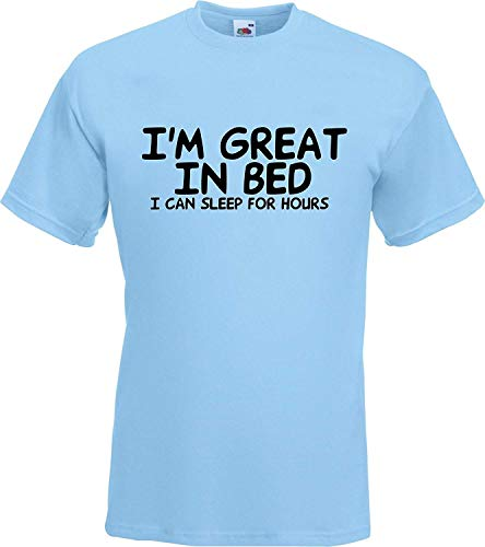 (Summy dogs Tees I'm Great in Bed. I Can Sleep for Hours Lazy T-Shirt (Medium) Sky Blue )