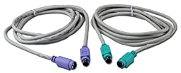 QVS CC321-06KM 6 ft. PS-2 Male to Female Keyboard & Mouse Extension Cable with Color-coded Connectors