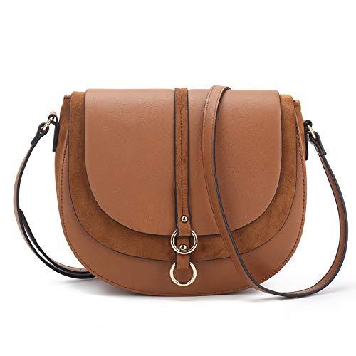 Women Crossbody Bag Saddle Shoulder Bag Small Satchel Purse and Brown Tote Handbag