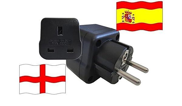 Adaptador de Viaje ESPAÑA a Inglaterra ES - GB Travel Plug ESPAÑA-Viaje (Protección contacto, 2200Watt): Amazon.es: Bricolaje y herramientas