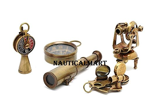 Nautical Gift Set-Miniature Telescope,Theodolite,Telegraph,Sextant,Compass By Nauticalmart by NAUTICALMART