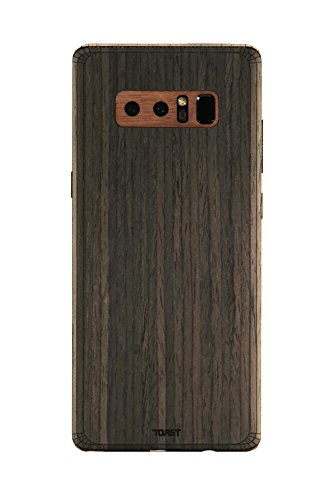 Toast Notes (TOAST- Real Wood, Ebony Cover for Samsung Note 8 with Walnut Camera & Buttons)