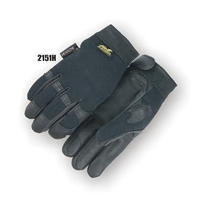 Blackhawk Winter Lined Black Deerskin Leather Gloves with Windproof Heatlok (Mechanics Style)