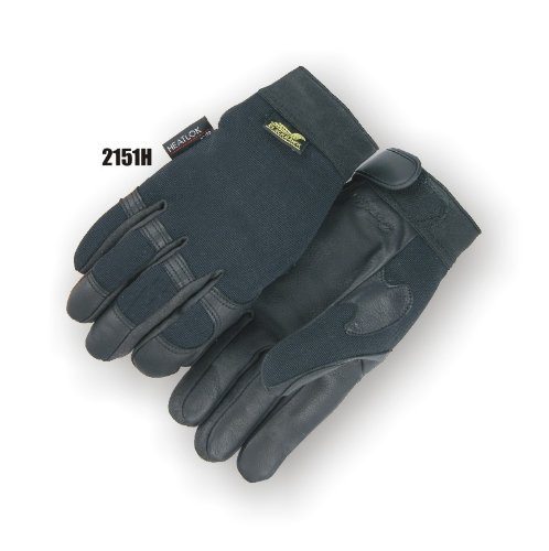 [Blackhawk Winter Lined Black Deerskin Leather Gloves with Windproof Heatlok (Mechanics Style), Medium] (Deerskin Winter Lined Glove)
