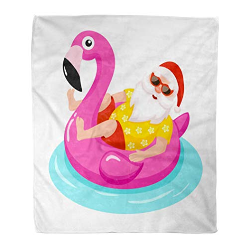 (Semtomn Flannel Throw Blanket Pink Circle Santa Claus Flamingo Inflatable Ring Tropical Christmas Soft for Bed Sofa and Couch 60x80 Inches)