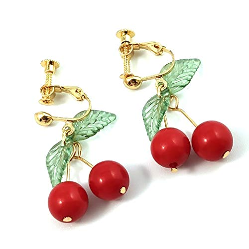 18K Gold Plated Clip-Ons Earring Green Leaf Red Cherry Earring Fruit Drop Dangle Girls Dangle Earring Clip Ons