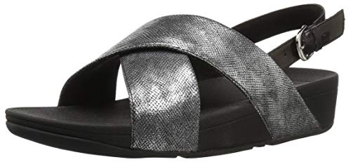 FitFlop Women's LULU Cross Back-Strap Sandals-Shimmer-Print, Black, 8 M US