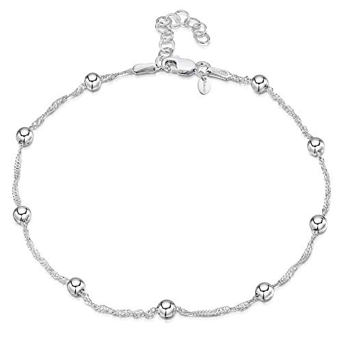 925 Fine Sterling Silver 1.4 mm Adjustable Anklet - Singapore Chain with 4 mm Ball Beads Ankle Bracelet - 9