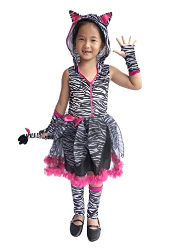 So Sydney Deluxe Girls Zebra Costume & Accessories, Kid Toddler Animal Print Tutu Dress Halloween Dress-Up (L (7/8), Zebra Hot Pink) -