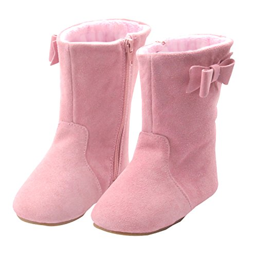 Izzy & Roo Genuine Suede Toddler Leather Boots For Girls With Bow (Size 5, Pink) - Girls Fringed Boots
