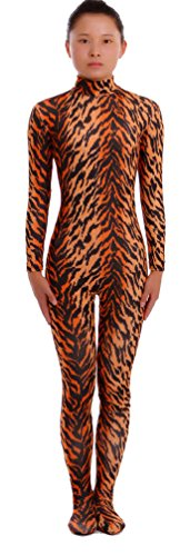 Seeksmile Unisex Second Skin Lycra Spandex Dancewear Catsuit Bodysuit (Kids Medium, Tiger)