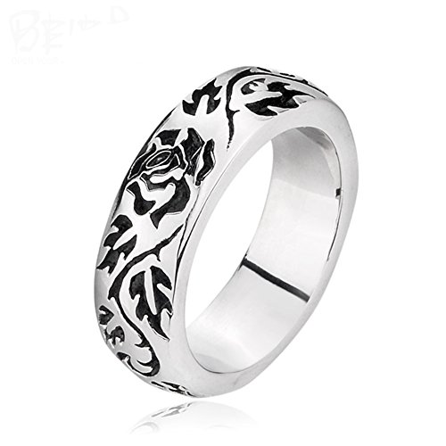 Carved Floral Ring (LILILEO Jewelry 7mm Titanium Steel Retro Carved Rose Floral Ring For Unisex Rings)