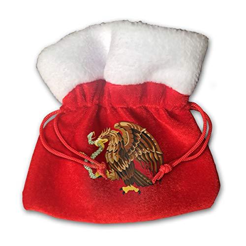 CYINO Personalized Santa Sack,Mexico Snake Bald Eagle Clip Art Portable Christmas Drawstring Gift Bag -