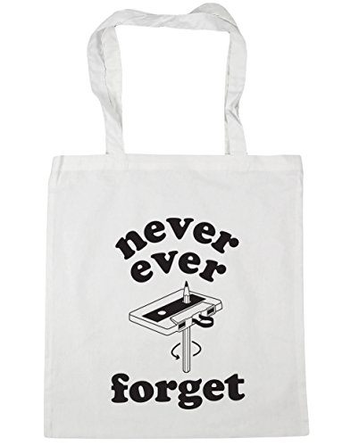 Never Beach HippoWarehouse x38cm litres Cassette Ever Gym Tote Shopping 10 42cm Forget Bag White Rewind SdHf8wxqd
