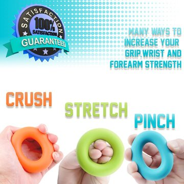 LIVV FITNESS Premium Finger Stretcher and Grip Strength Trainer Kit - Strengthens Fingers, Forearm, Wrist and Grip - 3 Level Finger Resistance Bands and Hand Grip Workout Rings with Carry Bag (6 Pack) by LIVV FITNESS (Image #4)