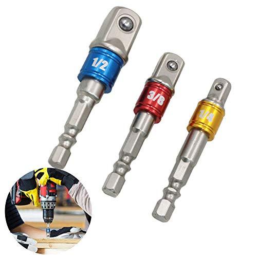 dezirZJjx Socket Adapter, 3Pcs Drill Sockets Adapter Sets, 1/2 3/8 1/4