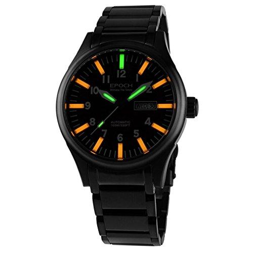 EPOCH 7016G steel strap waterproof 100m tritium orange luminous steel strap mens business mechanical watch - Black -  7016G Silver Orange