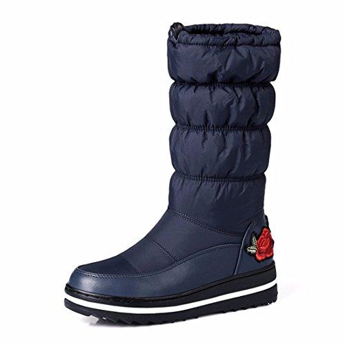 En invierno, la mujer, la barrica bordado botas de nieve están engrosados y cálidas botas de algodón blue