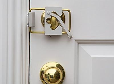 LOKmate Deadbolt Door Lock Security (White on Solid Brass)