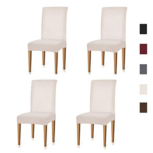 Xflyee Stretch Dining Room Chair Covers Jacquard Removable Washable Kitchen Parson Chair Slipcovers Set of 4 (Creme, 4 Pack)