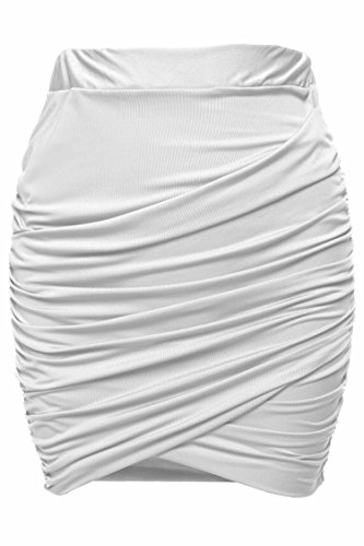 Zeagoo Women Sexy Wrap Runched Stretch Draped Short Mini Pleated Skirts, Large, White (Stretch Skirt Ruched)