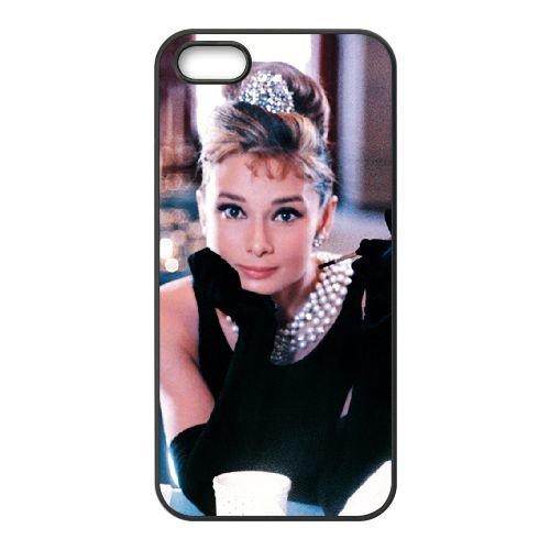 Audrey Hepburn 006 coque iPhone 5 5S cellulaire cas coque de téléphone cas téléphone cellulaire noir couvercle EOKXLLNCD21808