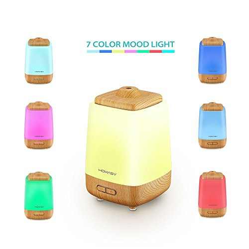 Homasy 200ml Aroma Essential Oil Diffuser Ultrasonic Cool Mist Whisper Quiet Humidifier with Waterless Auto Shut-off and 7 Color LED Lights Changing for Home Office Baby