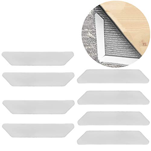 Oululu Non-slip Rug Grippers - Anti Curling Rug Anchors with Double Sided Adhesive Tape for Protecting Hardwood Floor and Flatting Carpet Edge (White - Pack of 8) Anchor Double Sided Tape