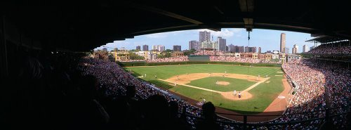 Walls 360 Peel & Stick Baseball Stadium Wall Mural: Wrigley Field High Angle View (36 in x 12 in)