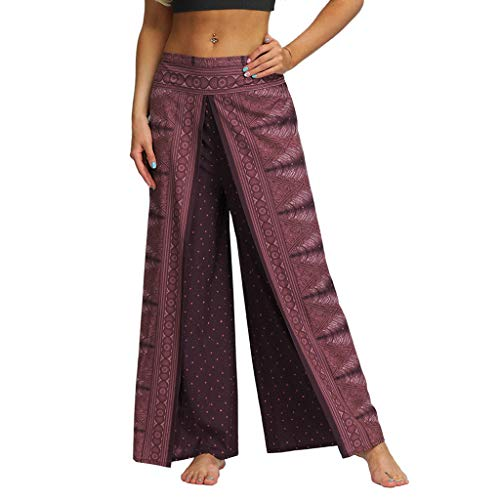 JOFOW Pants Women Wide Leg Loose Ethnic Totem Pattern Front Slit Split Indian Dress Pant Long Casual High Waist Swing Trouser (M,Purple) ()