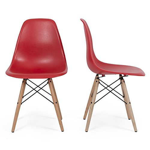 Belleze Plastic Molded Side Dining Chairs Modern w/ Natural Wood Legs DSW, Set of (2), Red