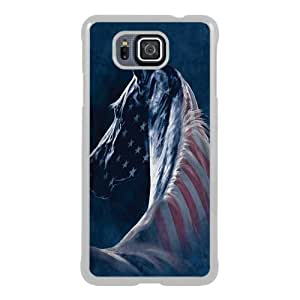Samsung Alpha Phone Case,Patriotic Horse White Pattern Cool Design Samsung Galaxy Alpha Cover Case
