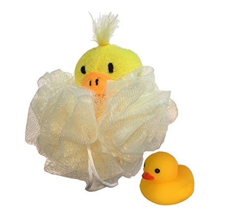 Baby Kids Childrens Stuffed Terry Cloth Yellow Duck Animal Toy Bath Shower Pouf Mesh Sponge w/Yellow Squeaky Rubber Duck Gift Set