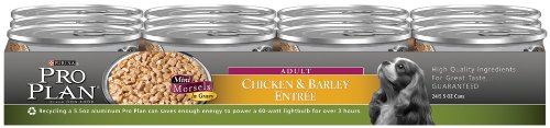 Purina Pro Plan Adult Dog Food (Mini Morsels), Chicken and Barley Entree, 5.5-Ounce Cans (Pack of 24), My Pet Supplies