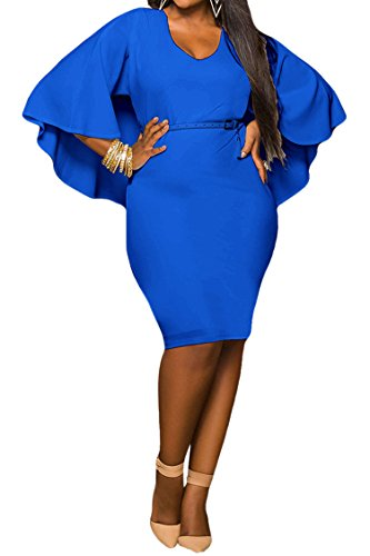 LaSuiveur Women's Batwing Sleeve Plunge Bodycon Plus Size Club Dress XXL Blue