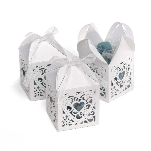 Cake Die Cut (Hortense B. Hewitt Wedding Accessories 2-Inch Die Cut Decorative Favor Boxes, 25 Count, White)