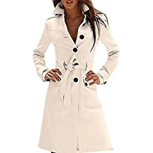 US&R, Women's Elegant Mid Length Fitted Belted Wool Blend Trench Coat Jacket