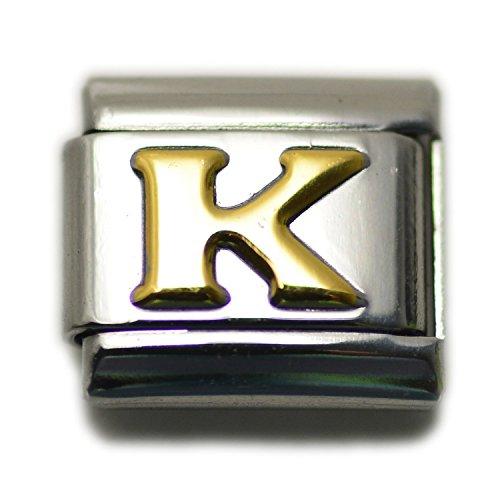 Dolceoro Initial K Letter Alphabet, 9mm Type Italian Modular Charm Bracelet Link - Stainless Steel (Italian Charm For Bracelet)